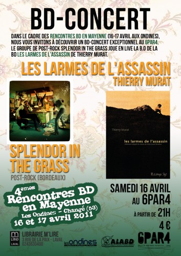 bd concert splendor in the grass, thierry murat, futuropolis, les larmes de l'assassin